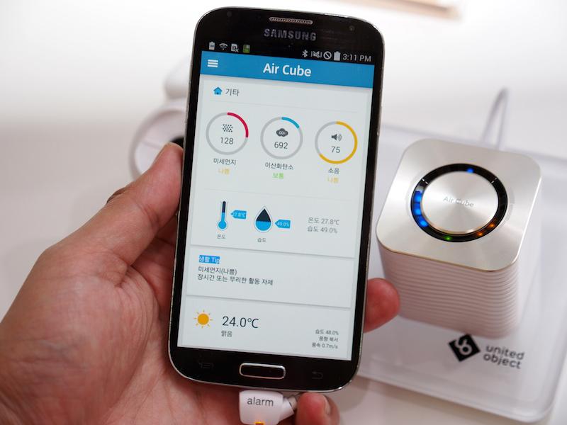 CESで披露した、エアセンサー「Air Cube」も展示。CO2や湿度などの測定が可能